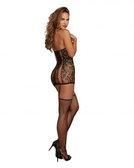 Dreamgirl Black Lace Garter Dress with Fishnet Stockings