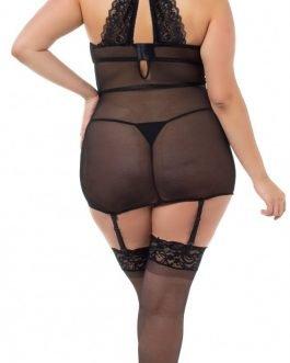 Dreamgirl Black Plus Size Velvet Underwired Garter Slip