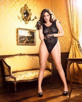 Baci Lingerie Plus Size Black Lace Teddy